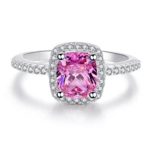 pink cushion cut odessa ring