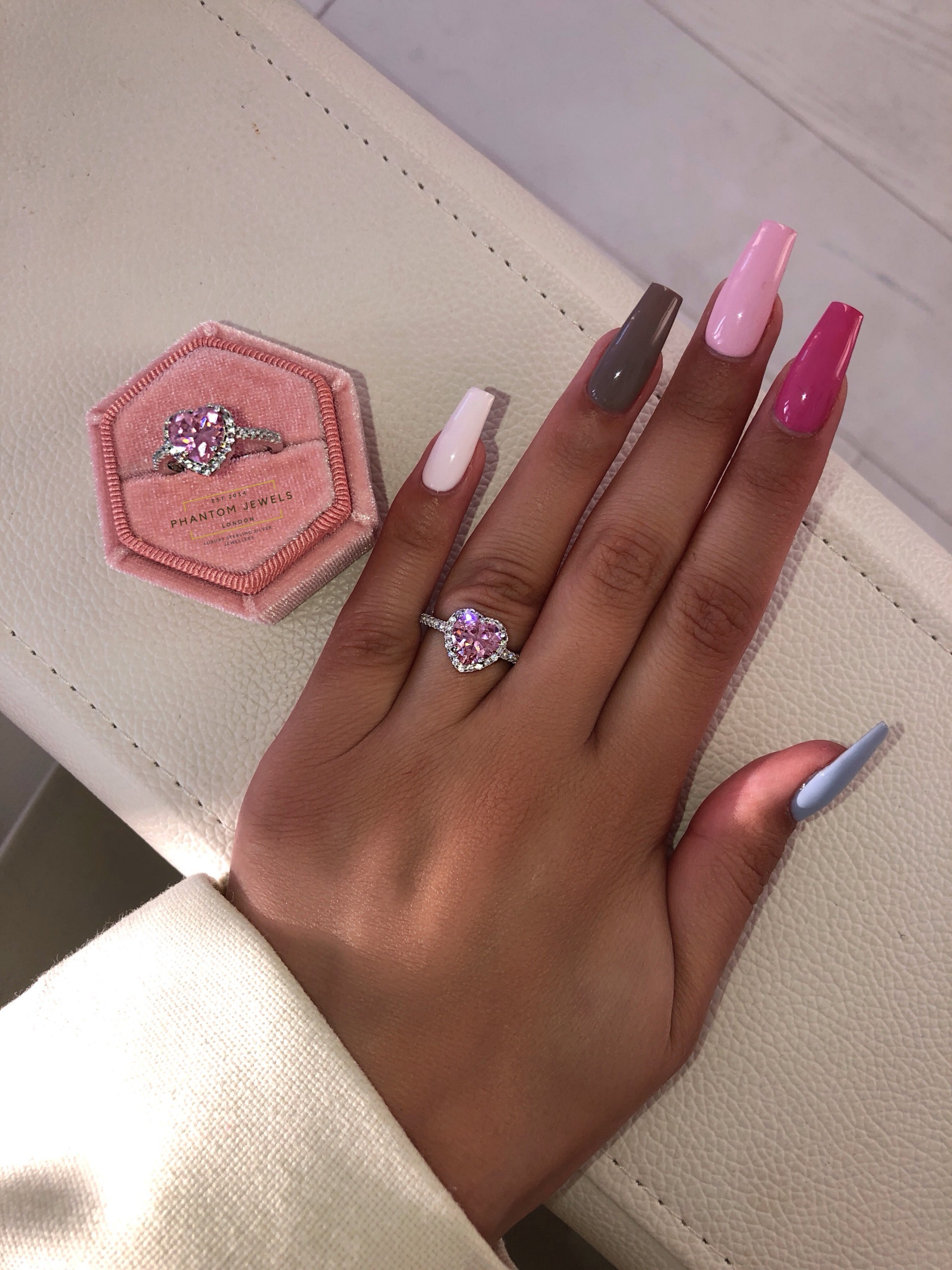 pink heart luxe ring