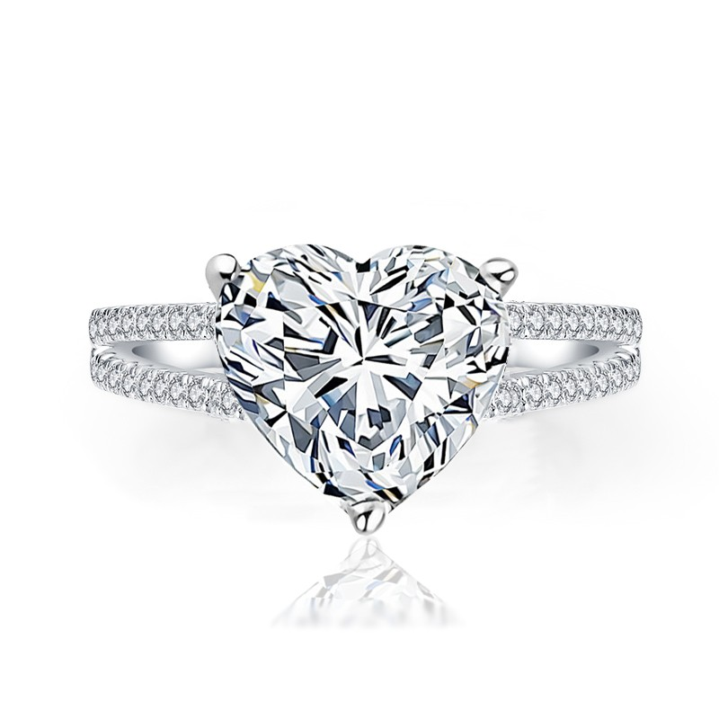 heart affair ring. heart shaped engagement ring, heart diamond ring, heart shape double band ring